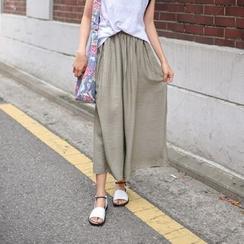 JUSTONE - Linen Blend Wide-Leg Pants
