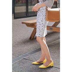 CHERRYKOKO - Floral Pattern Pencil Skirt