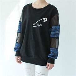 GLAM12 - Sheer-Panel Sleeve Printing T-Shirt