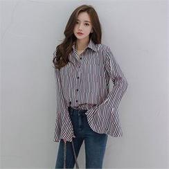 Babi n Pumkin - Bell-Sleeve Patterned Shirt with Sash