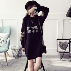 Qimi - Long-Sleeve Embroidered Knit Dress