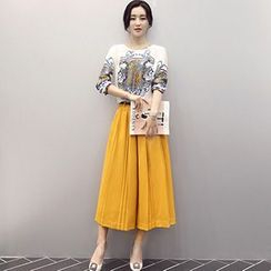 Ashlee - Set: Print Long-Sleeve Chiffon Top + Pleated Gaucho Pants