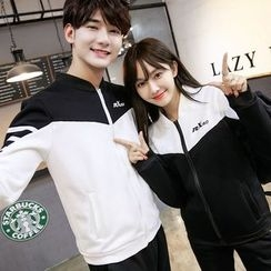 CASSY - Color-Block Zip Couple Matching Jacket / Pants