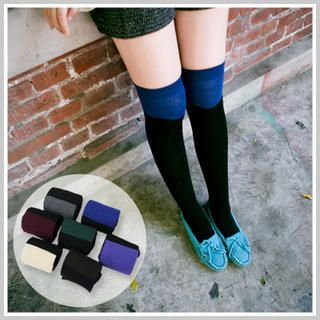 Clair Fashion - Wool-Blend Color-Block Long Socks