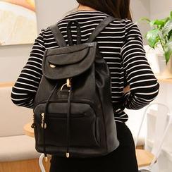 Seok - Faux Leather Flap Backpack