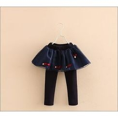 Seashells Kids - Kids Bow Applique Skirt Fleece Lined Leggings