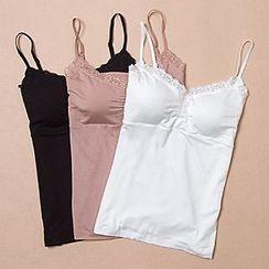 camikiss - Lace Trim Plain Camisole Top