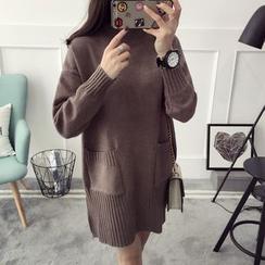 Qimi - Plain Mock-neck Knit Dress