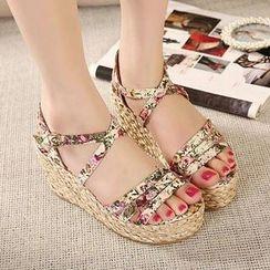 Mancienne - Floral Espadrille Sandals