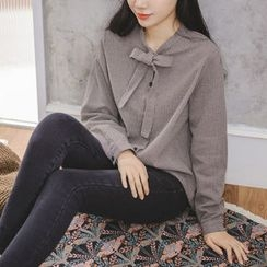 JUSTONE - Tie-Neck Checked Blouse