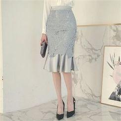 ode' - Ruffle-Hem Lace Skirt