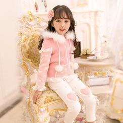 Candy Rain - Kids Embellished Heart Applique Leggings