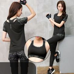 REALLION - Set: Camo Panel Short Sleeve Sports T-Shirt + Sports Bra + Inset Sports Shorts Leggings