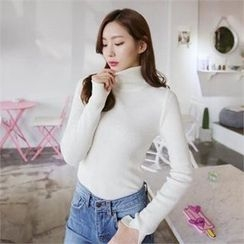 QNIGIRLS - Turtle-Neck Rib-Knit Top