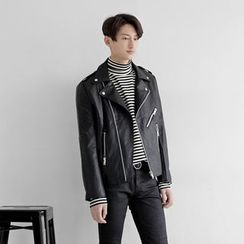 Seoul Homme - Faux-Leather Biker Jacket