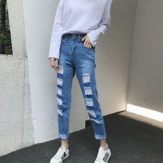 MePanda - Distressed Straight-Cut Jeans