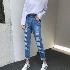 MePanda - 做旧直筒牛仔裤