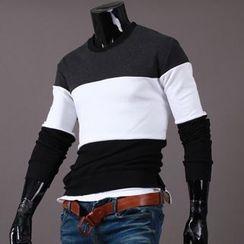 Seoul Homme - Round-Neck Color-Block T-Shirt