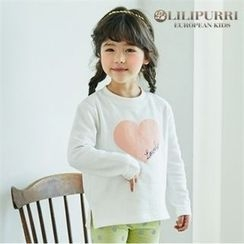 LILIPURRI - Girls Crew-Neck Heart Print T-Shirt