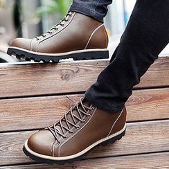 NOVO - Genuine Leather Lace Up Ankle Boots