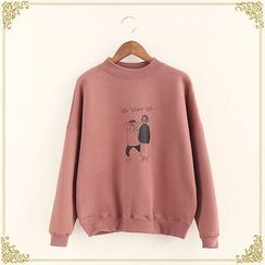 Fairyland - Cartoon Print Mock Neck Sweatshirt
