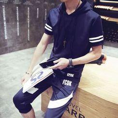 丹傑仕 - 套裝: 短袖連帽衫 + 運動短褲