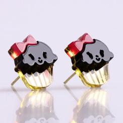 Sweet & Co. - Miss Cupcake Black Stud Gold Earrings