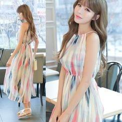 Dowisi - Print Halter Chiffon Dress