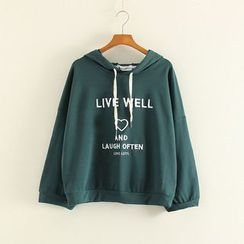 Mushi - Letter Embroidered Hoodie