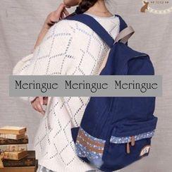 Meringue - Floral Print Panel Canvas Backpack