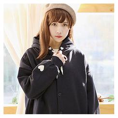 Sechuna - Drop-Shoulder Hooded Buttoned Jacket
