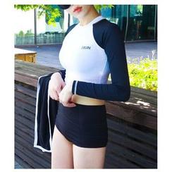 Jumei - 套装: 双色防晒衣 + 泳裤