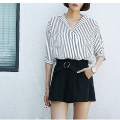 Sens Collection - Striped V-Neck Elbow Sleeve Shirt