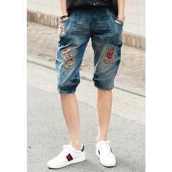 REDOPIN - Band-Waist Appliqué Baggy Jeans
