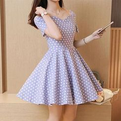 Yohana - Dotted Cut Out Shoulder Short Sleeve A-Line Dress