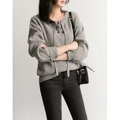 UPTOWNHOLIC - Lace-Up Wool Blend Knit Top