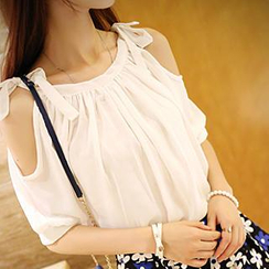 Dora - Elbow-Sleeve Cutout Shoulder Chiffon Top