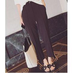 HazyDazy - Cropped Asymmetrical Hem Dress Pants