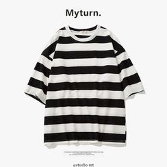 Chuoku - Striped Elbow-Sleeve T-Shirt