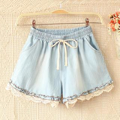 JVL - Lace Hem Drawcord Shorts