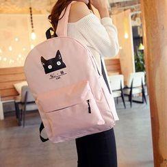 Seok - Cat Print Nylon Backpack