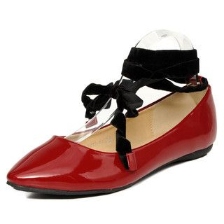 YesStyle Footwear - Ankle Tie Patent Flats