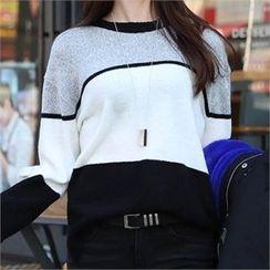 CHICFOX - Crewneck Color-Block Sweater
