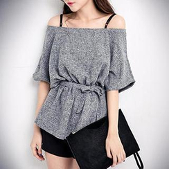PUFII - Off-Shoulder Peplum Top
