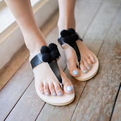 JUSTONE - Pompom Thong Flip-Flops