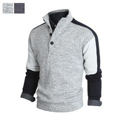 DANGOON - Mock-Neck Color-Block Henley