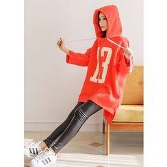 J-ANN - Hooded Dip-Back Lettering Pullover Dress