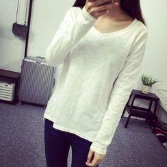 RASA - 純色V領長袖T恤