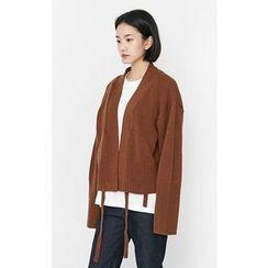 Someday, if - Strap-Detail Wool Blend Cardigan