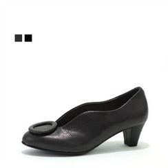 MODELSIS - Genuine Leather Kitten-Heel Pumps